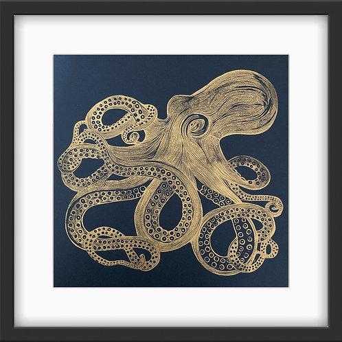 'Octopus' Original Linocut Print - Metallic Gold
