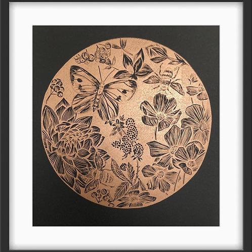 Botanical Circle - Original Linocut Print