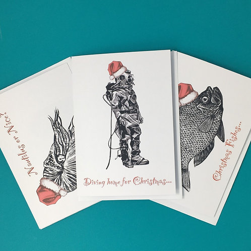 Pack of 6 - Humorous, Nautical Themed Christmas Cards