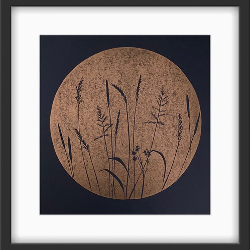 Wild Grasses - Original Linocut Print (Copper on black)