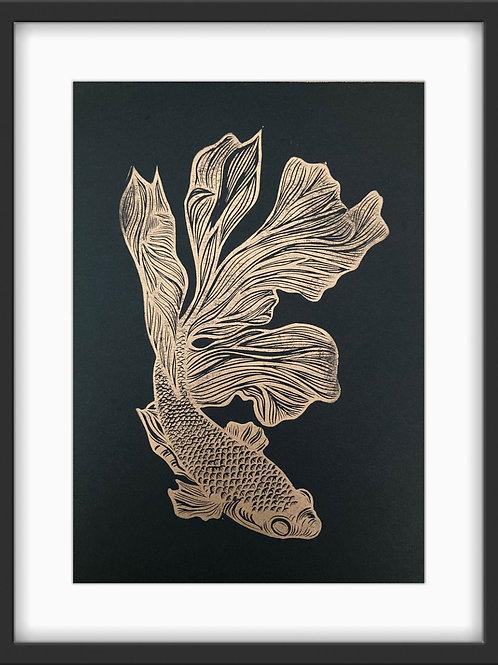 'Betta Fish' Original Linocut Print - Metallic Copper