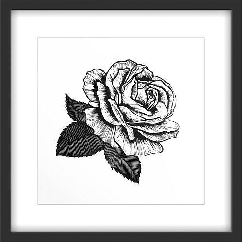 'Rose' Original Linocut Print