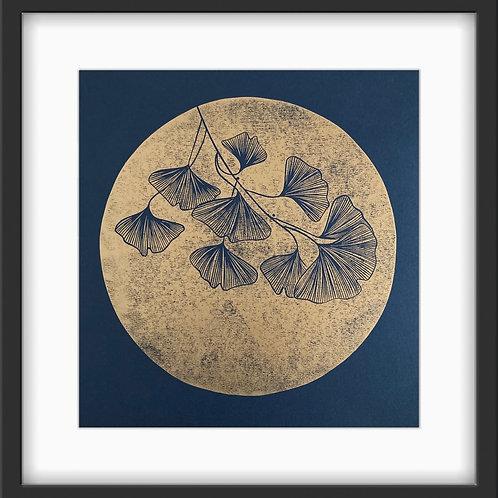 Ginkgo - Original Linocut Print (Copper on Indigo)