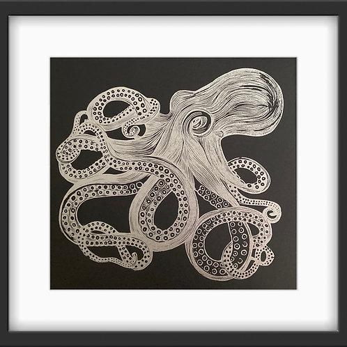 'Octopus' Original Linocut Print - Metallic Silver