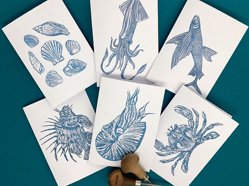 Pack of 6 - Nautical Themed Linocut Note Cards