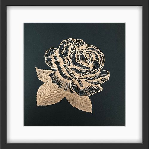 'Rose' Original Linocut Print - Metallic Copper