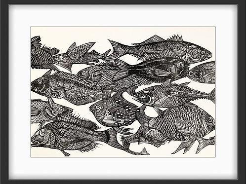 'School of Fish' Original Linocut Print - Black