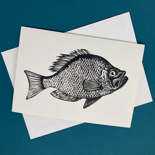 'Bass' Linocut Blank Greeting Card