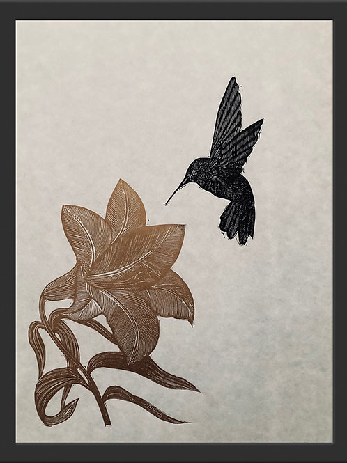 Trumpet Lily and hummingbird - Original Linocut Print (Unframed)