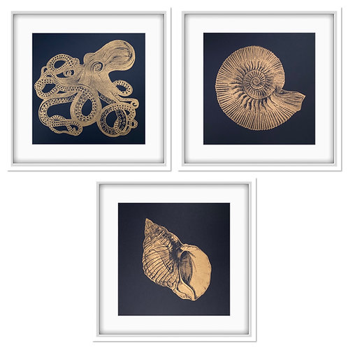 Sea Life Triptych Original Linocut Prints (Gold on Indigo - Unframed)