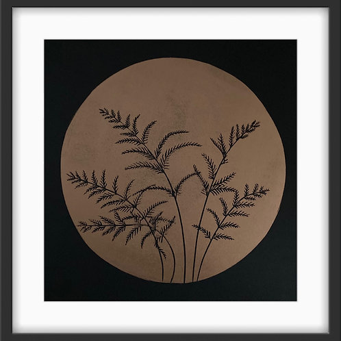 Ferns - Original Linocut Print (Copper on Black)