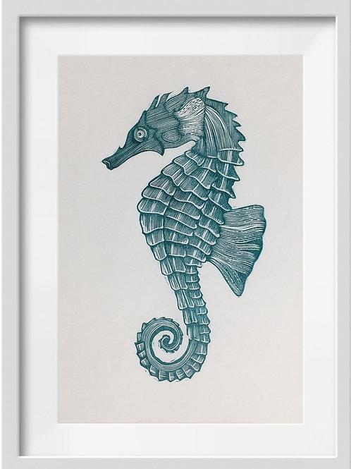 'Seahorse' Original Linocut Print