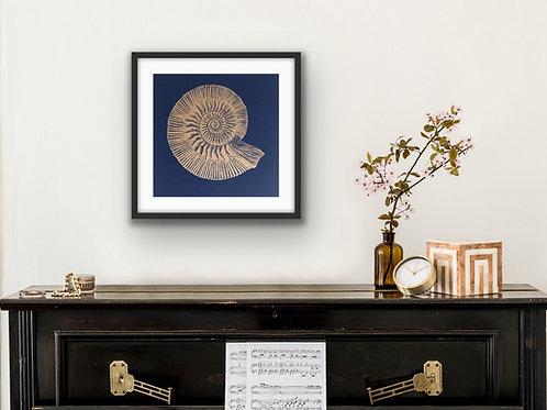 Ammonite - Original Linocut Print (Gold on Indigo)