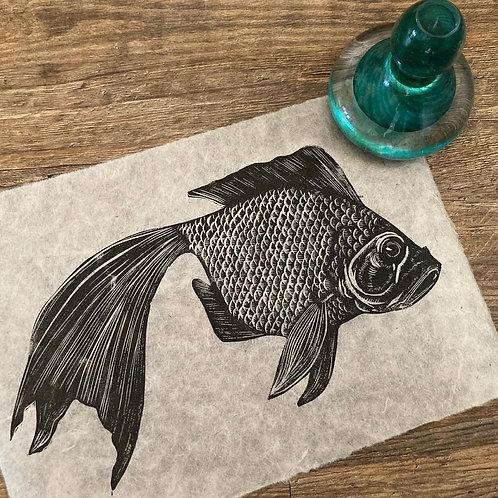 'Japanese Goldfish' Original Unframed Linocut Print