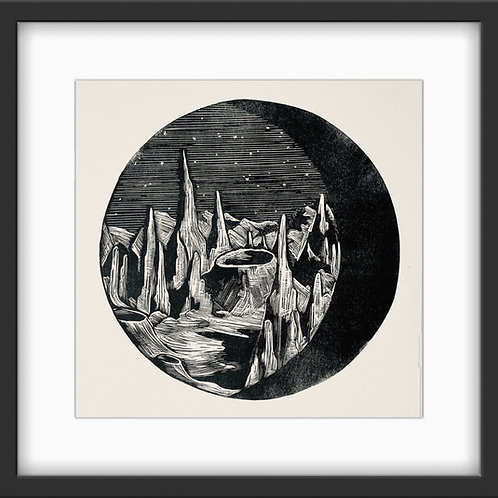 'Moon Rocks' Original Linocut Print