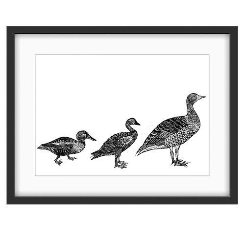 'Duck, duck...GOOSE!' - Original Linocut Print (Unframed)