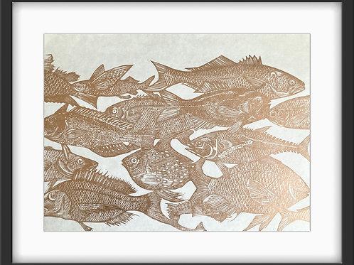 'School of Fish' Original Linocut Print - Copper (Unframed)