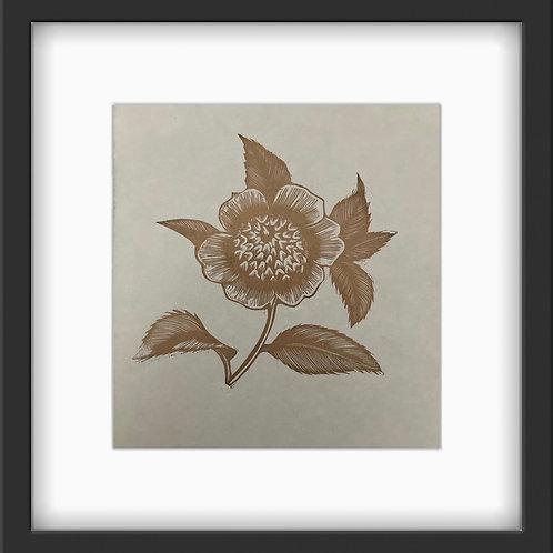 'Floral II' Original, Metallic Gold Mini Print