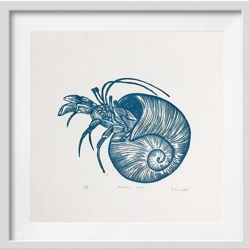 'Hermit Crab' Original Linocut Print