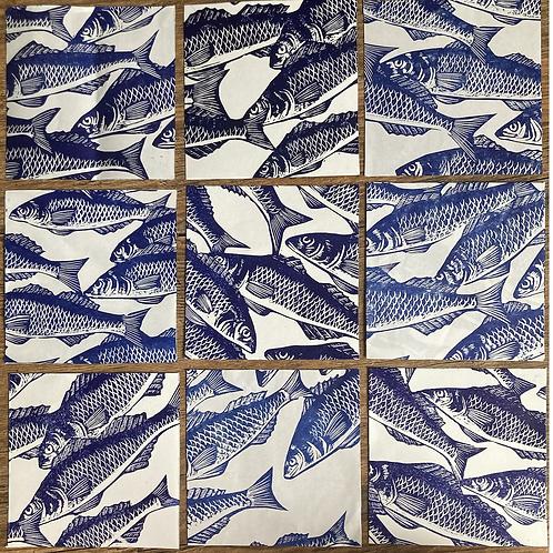 Set of 6 Linocut Paper Squares -  Blue Fish