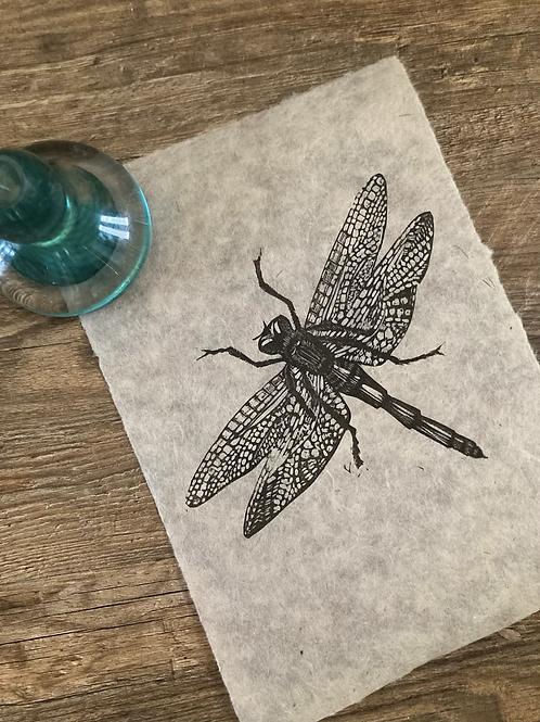 'Dragonfly' Original Unframed Linocut Print