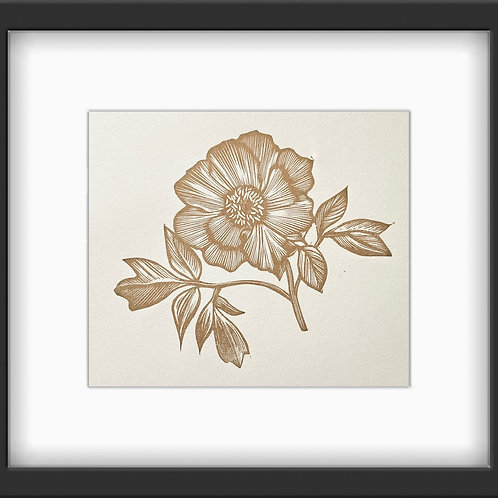 'Floral 1' Original, Metallic Gold Mini Print