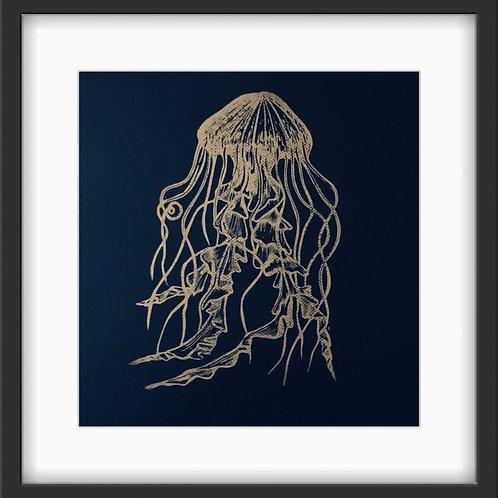 Jellyfish - Original Linocut Print - Metallic Gold on Indigo