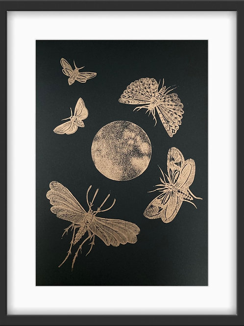 'Moths' Original Linocut Print - Metallic Copper