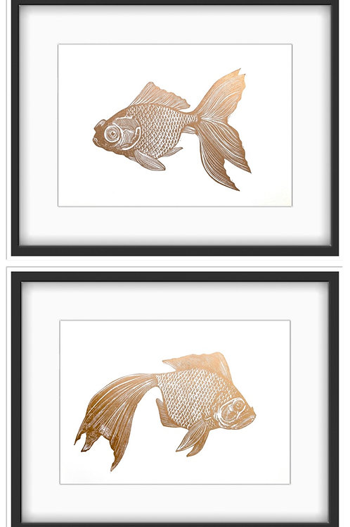 Japanese Goldfish Original Linocut Prints (pair) - Metallic Gold