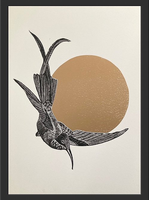 Bird of Paradise - Original Linocut Print (Unframed)