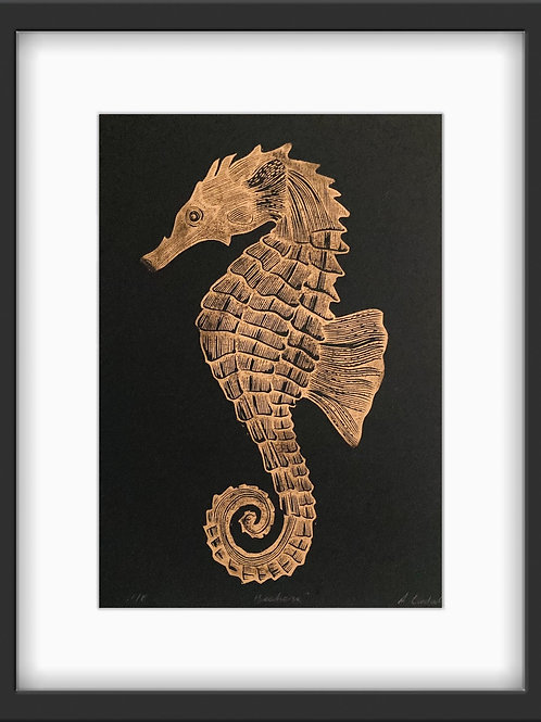 'Sea Horse' Original Linocut Print - Metallic Copper