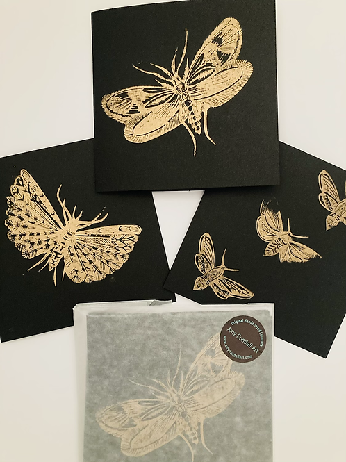 Set of Three Black and Gold Notecards