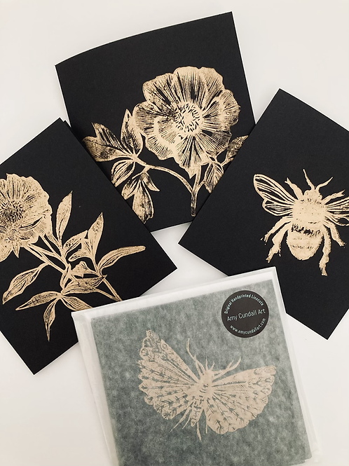 Set of Three Flowers and Bee Black and Gold Notecards
