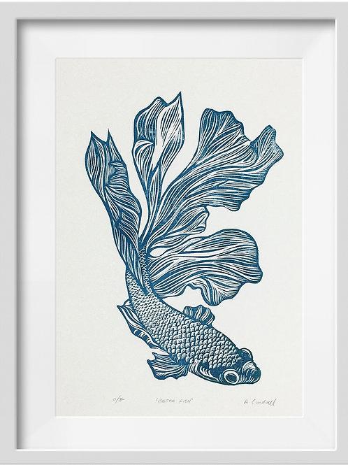 'Betta Fish' Original Linocut Print