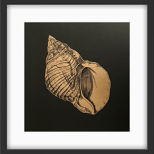 Drill Shell - Original Linocut Print (Gold on Black)