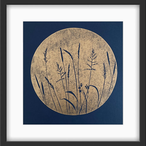 Wild Grasses Original Linocut Print (Copper on Indigo)