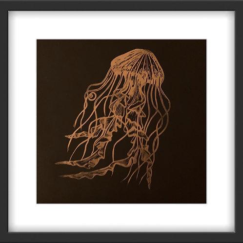 'Jellyfish' Original Linocut Print - Metallic Copper on Black