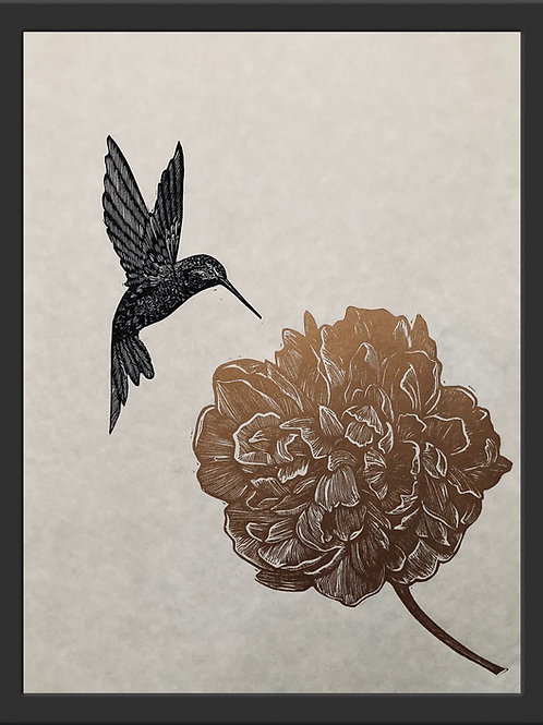 Peony and Hummingbird - Original Linocut Print (Unframed)