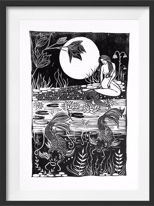 'Carp Pond' Original Linocut Print