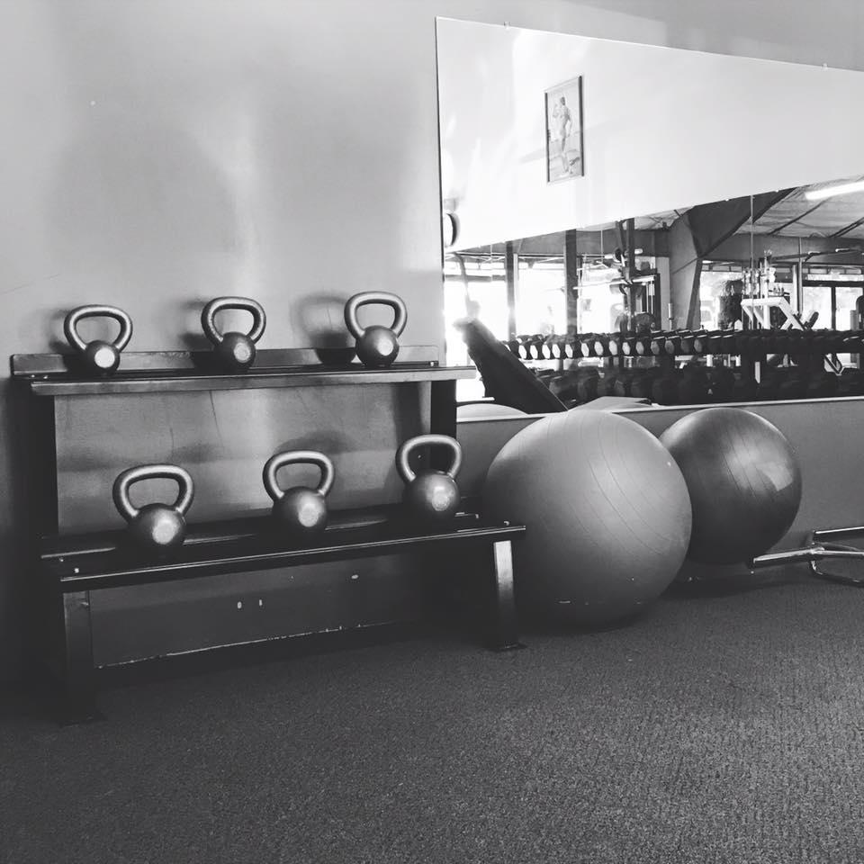 kettlebells, balance balls