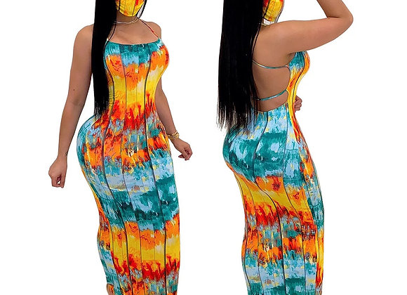 Paradise Drip Dress with mask