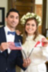 Canadian couple wedding - Bride wearing florial crown