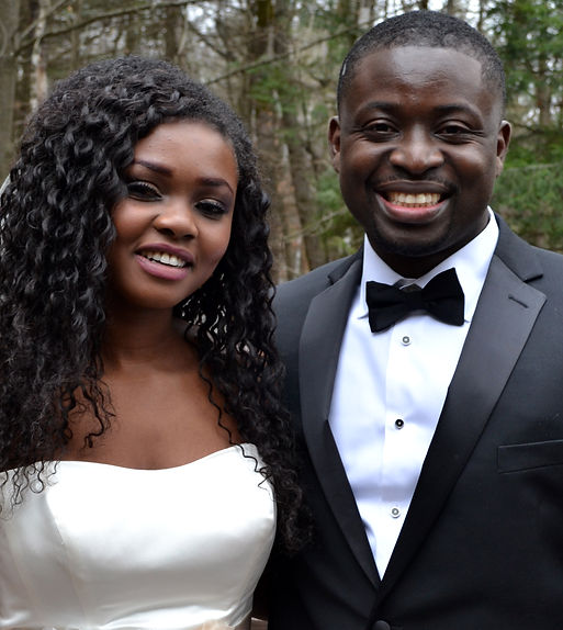Black Couple on Their Wedding Day Smiling