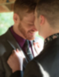 Two gay men at their wedding