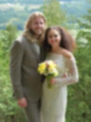 Wedding couple ontop of Mt. Philo