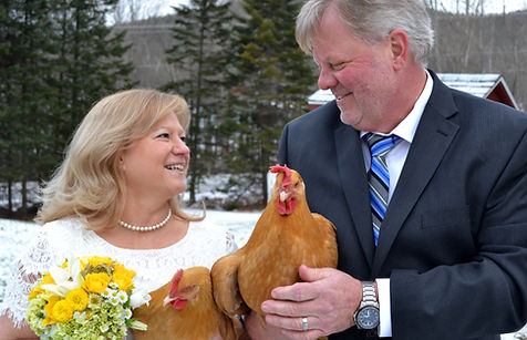 Wedding couple with chickens