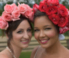 Two brides with floral crowns