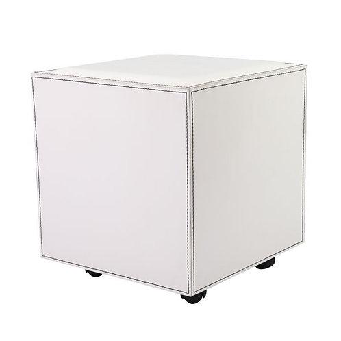 ROLLER 白色有轆方形矮凳