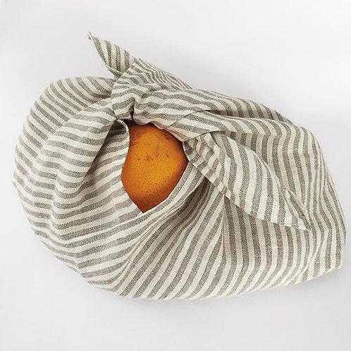 Striped Azuma bukuro / bento project, produce, gift bag in linen