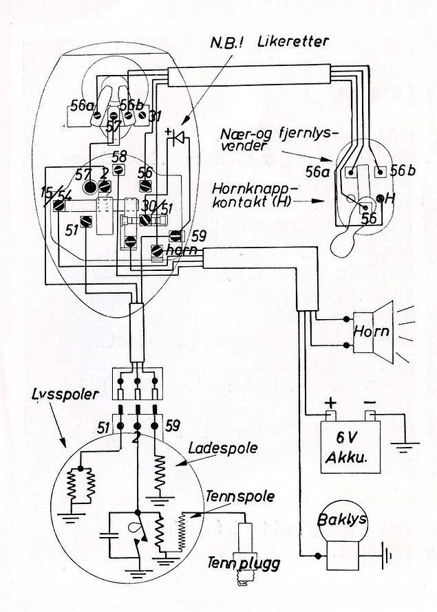 Koplingskjema Tempo Sachs 150 1952 model